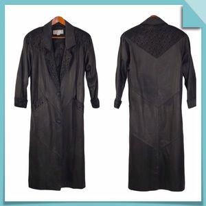 Vintage Avanti Leather Full Length Coat Size S